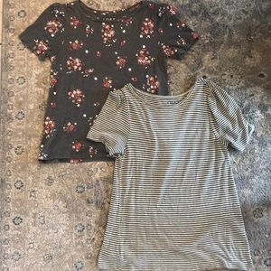 Two loft shirts Green stripe and gray with flowers